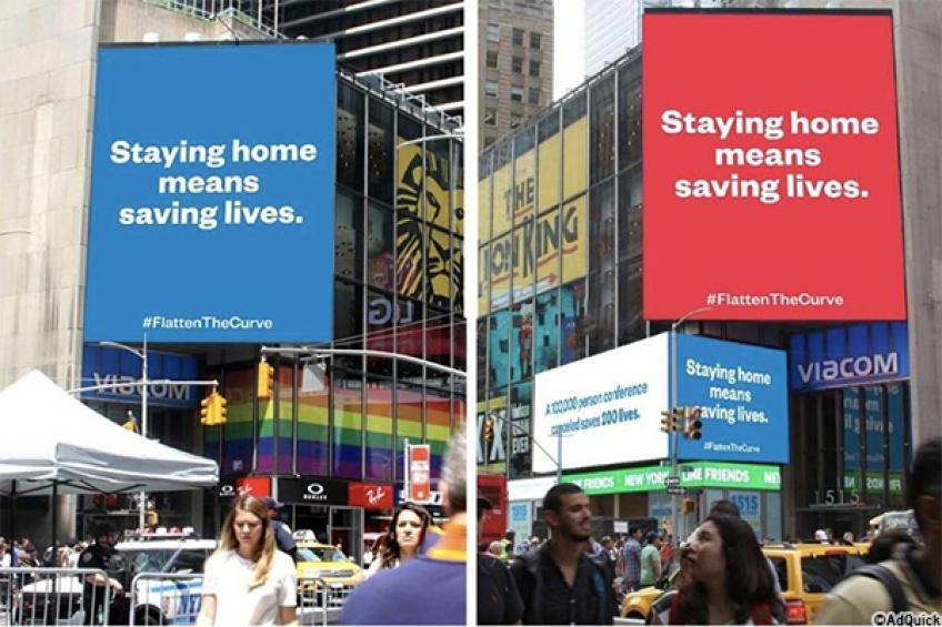 "Serena Williams' Alexis Ohanian reinforces his ""stay home"" Times Square ad"