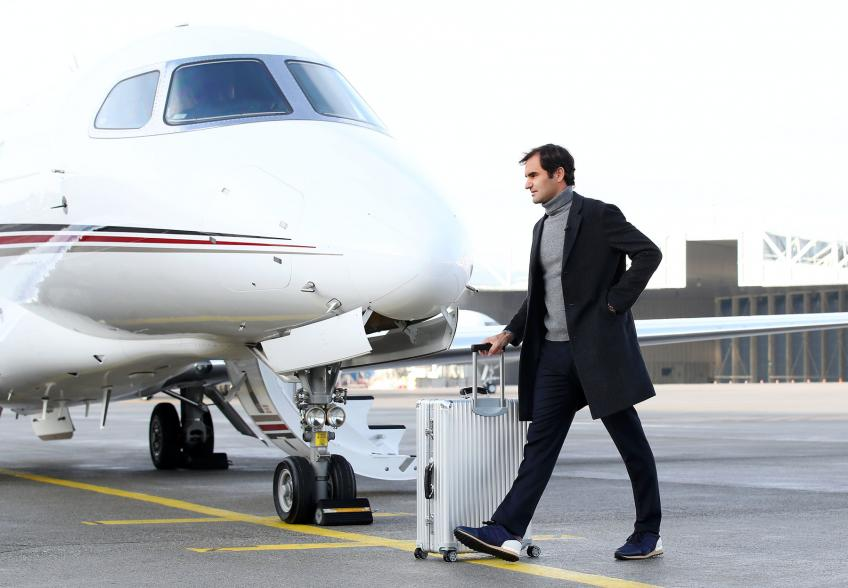 Roger Federer is jetting around