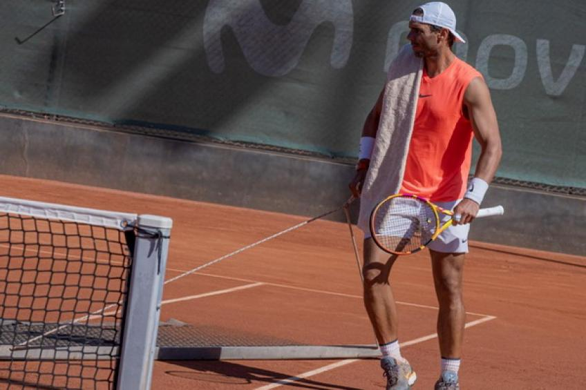 Rafael Nadal hits practice court at his Academy ahead of Roland Garros