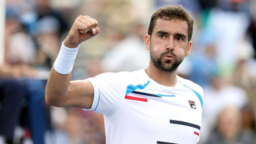 Marin Cilic reacts to beating Felix Auger-Aliassime at Paris Masters