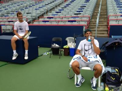 Rafael Nadal practices with Richard Gasquet in Montreal