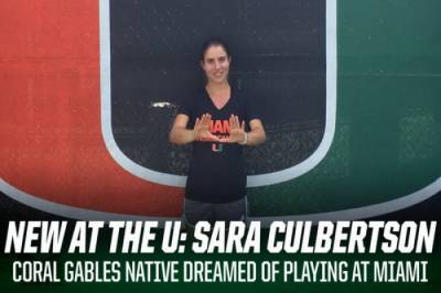 """Sara Culbertson, Miami freshman: """"It was my dream to play on the team here, since I was six"""""""