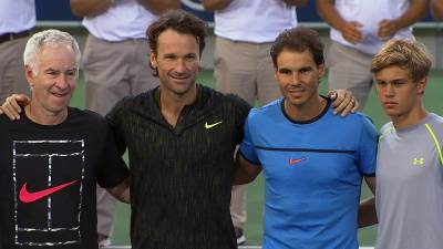 Nadal Academy officially opened, Rafa/Solbas beat McEnroe/Wilander in a doubles match