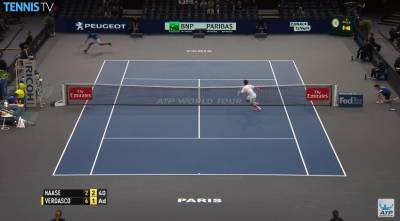 Haase runs the width of the court and retreives a great winner