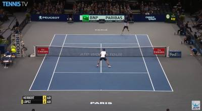 Herbert hits a great forehand passing shot against Lopez