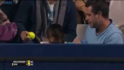 Sock 'kills' a kid in the stands with his serve