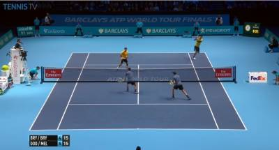 Great volley from Mike Bryan