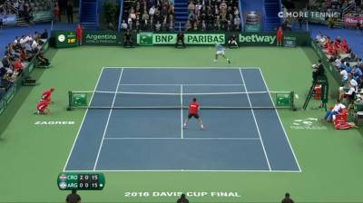 Incredible tweener by Del Potro Against Marin Cilic