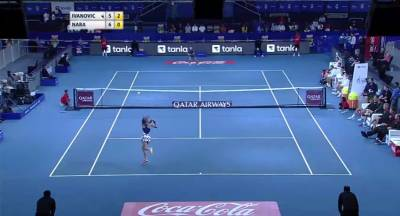 Ivanovic hits a backhand winner down the line