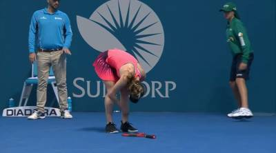 Ouch! Svitolina gets hit when she's down.