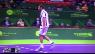 Stepanek wrongly thinks he has broken Djokovic's serve!