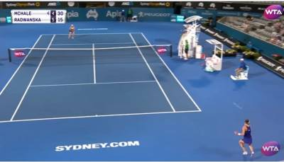 Amazing passing shot by Radwanska from the back of the court