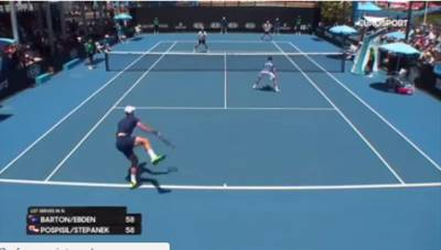 Pospisil serves and hits Stepanek!