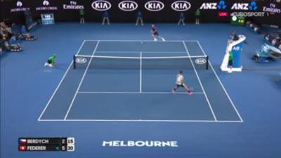 AMAZING Reflexes by Federer at the net