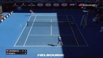 Jo Konta hits a stunning return against Caroline Wozniacki