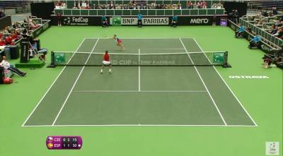 Amazing quick-witted lob by Barbora Strycova