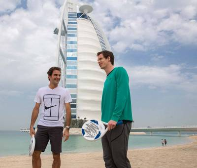 Roger Federer and Andy Murray play beach tennis in Dubai (PICS INSIDE)