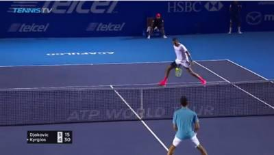Kyrgios hits the tweener but Djokovic wins the point
