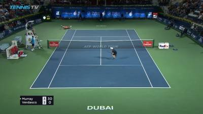 Exciting rally in Dubai: Verdasco slips and Murray wins the point