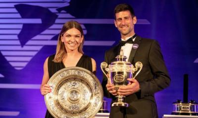 What did Wimbledon champions Djokovic and Halep do on Giving Tuesday
