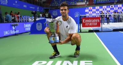 How did Jiri Vesely face five back-to-back tie breaks to win Pune?