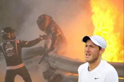 Pouille reacts to Grosjean's miraculous escape out of flaming Haas car crash