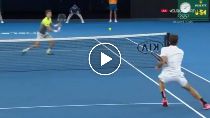 Aljaz Bedene wins terrific rally at the net against Roger Federer