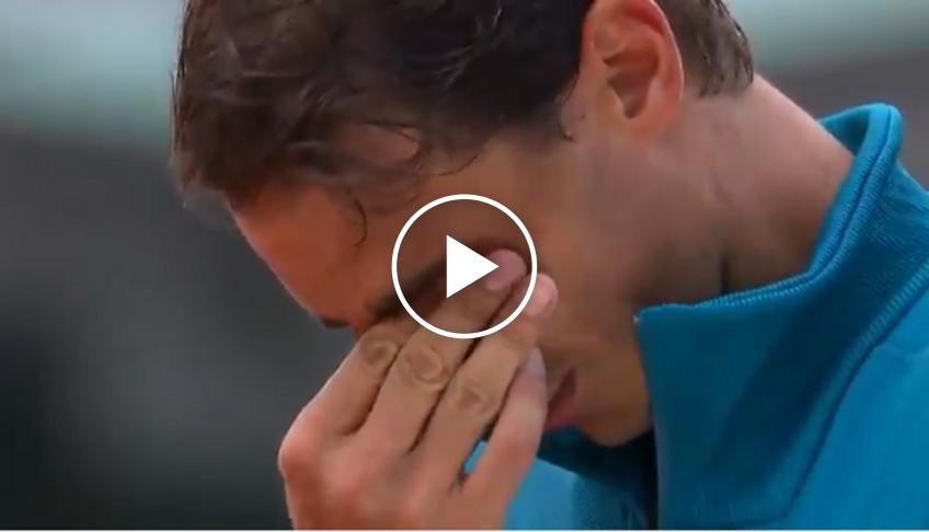 Rafael Nadal cries after the win - 2018 French Open