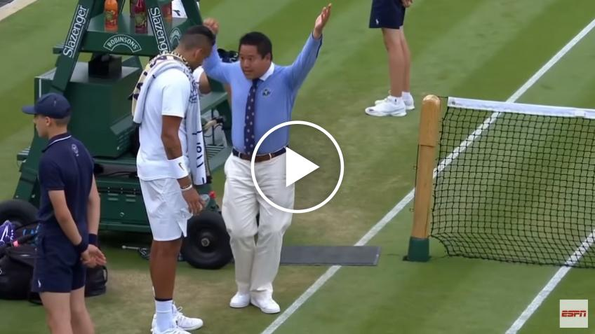 Nick Kyrgios gets lesson on foot faults from Wimbledon judge