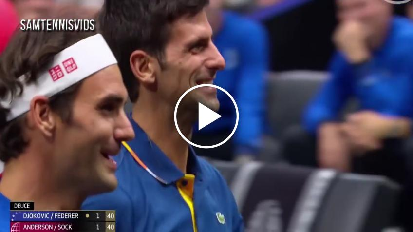 Djokovic hits Federer, pair lose in doubles at Laver Cup