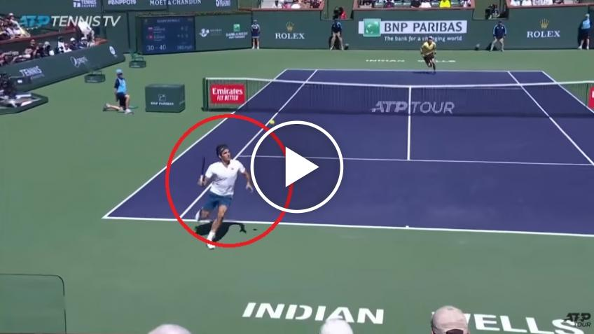 Roger Federer plays stunning rally to save break point