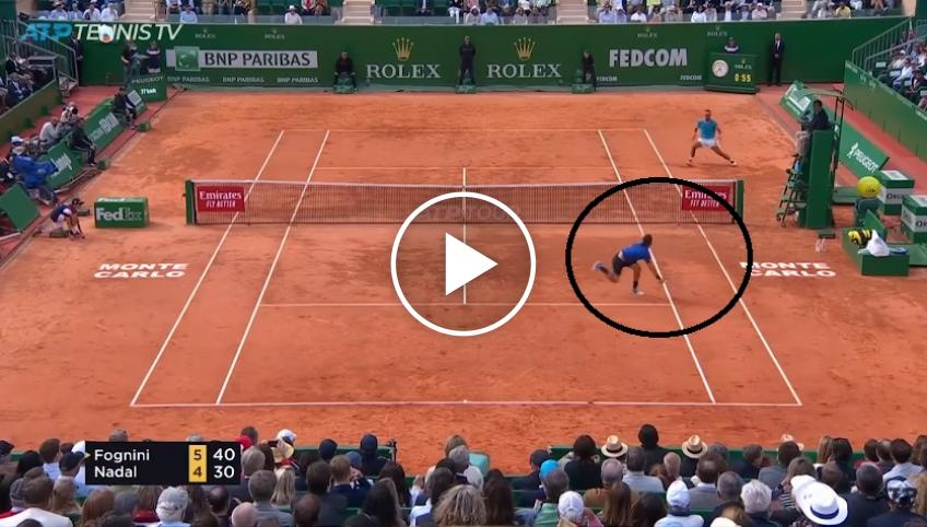 Fabio Fognini wins epic rally at the net against Rafael Nadal