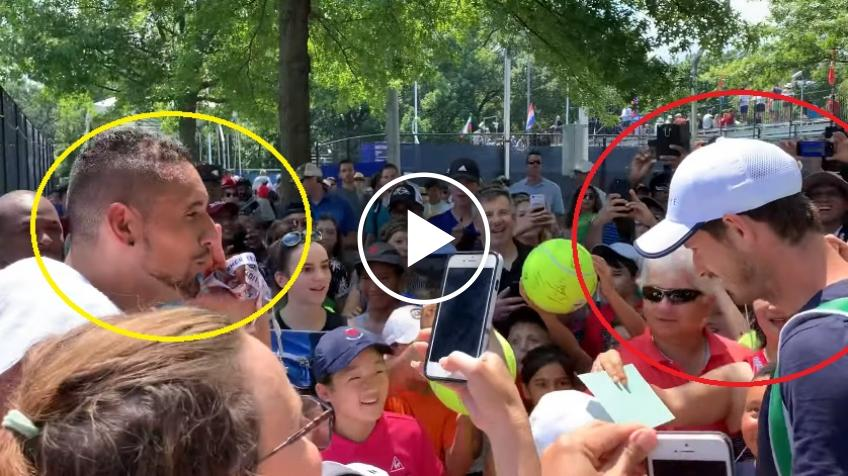 Andy Murray interrupts Nick Kyrgios' autograph session at Citi Open