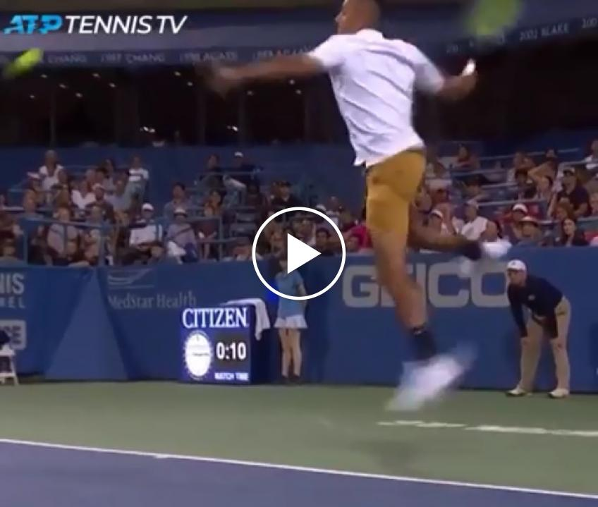 Stunning: Nick Kyrgios his unbelievable flying forehand