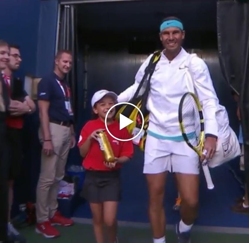 Sweet moment: Rafael Nadal walks with emotional girl in Montreal