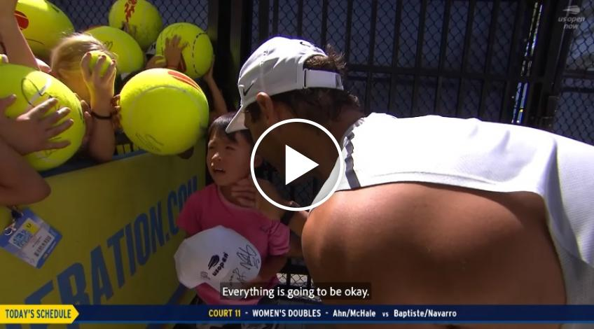 Rafa Nadal consoles young fan on US Open Now