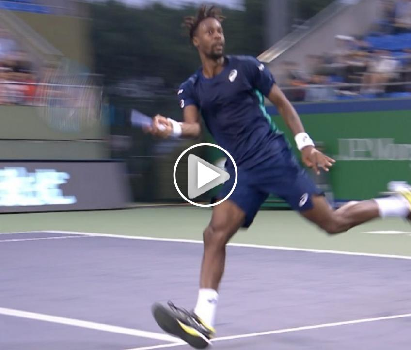 Monfils tries to hit funny shot, but the result is not great