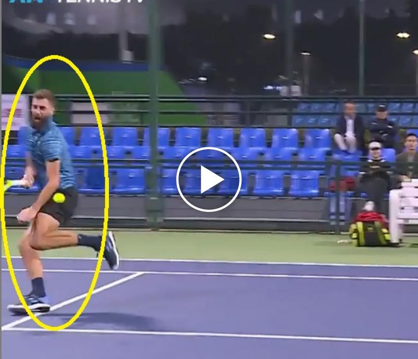 Ouch: Paire gets hit by ball during doubles match