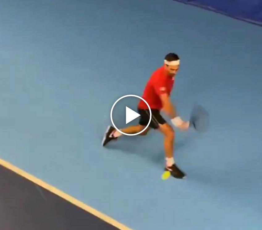 Roger Federer trains in London