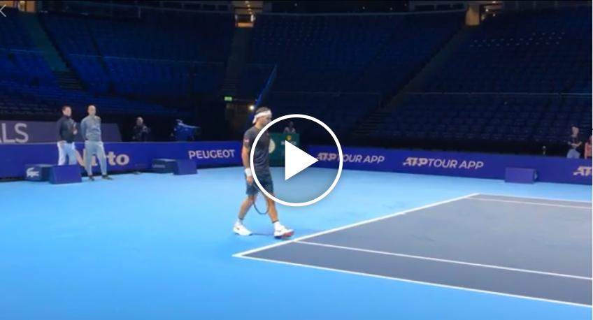 Roger Federer practices with Stefanos Tsitsipas at the Nitto ATP Finals