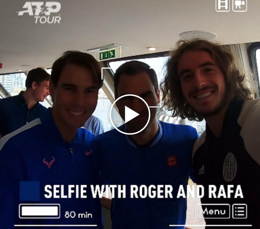 Tsitsipas Completes Secret Mission, takes selfie with Federer and Nadal