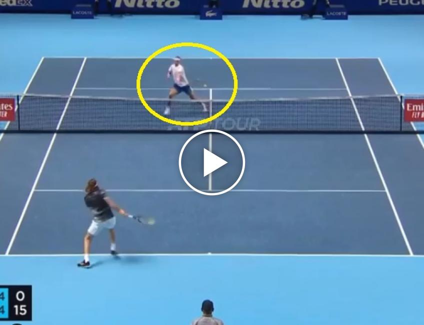 Brilliant defence from Rafael Nadal at the net