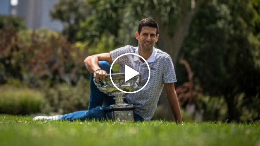 Djokovic visits the Melbourne botanical gardens with the AO trophy
