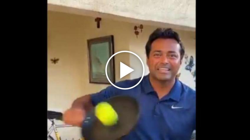 Leander Paes Volleys with a Frying Pan Without looking at the Ball