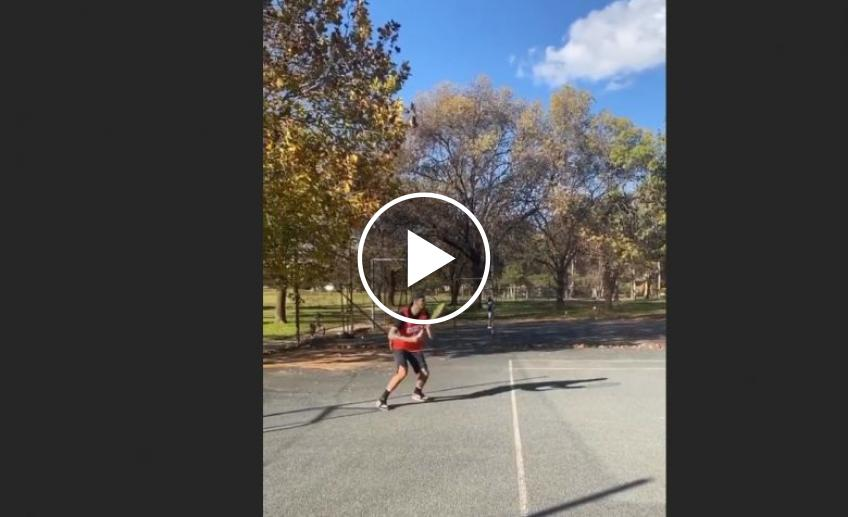 Nick Kyrgios gets back to playing tennis at a local park