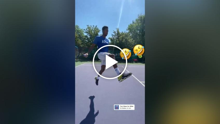 Gael Monfils' trick shots as Frenchman returns to practice