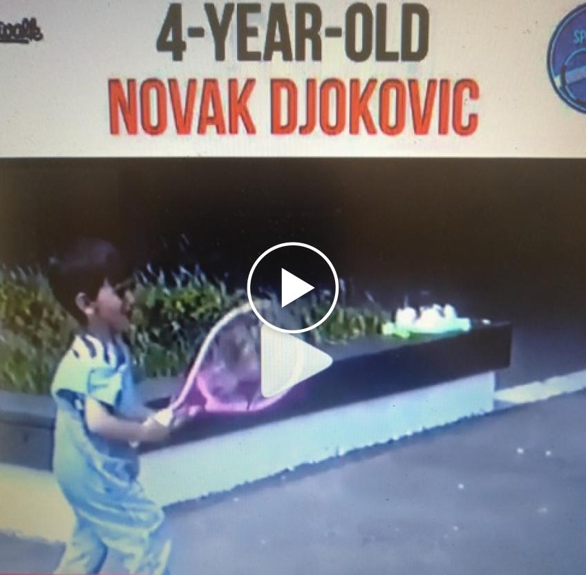Novak Djokovic plays tennis as a 4 year old