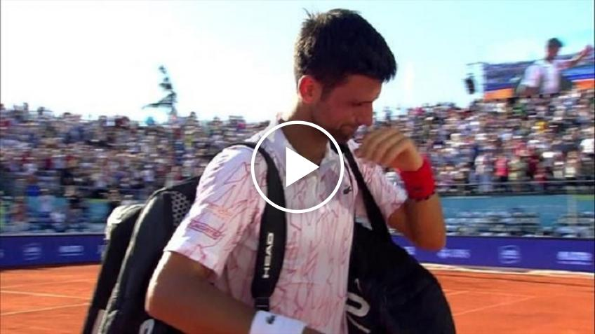 Novak Djokovic in tears during the Adria Tour