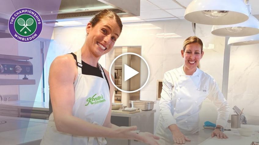 Johanna Konta works on her cooking skills with Michelin star chef Clare Smyth