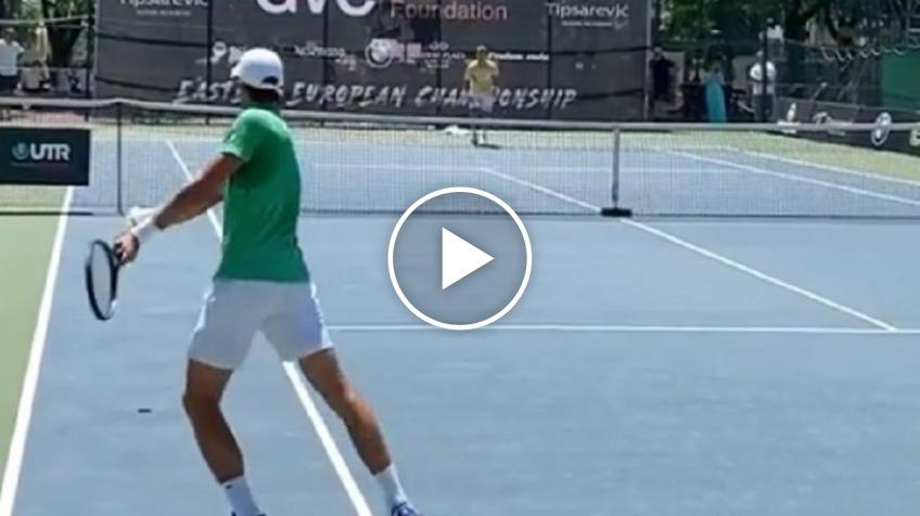 Novak Djokovic trains at the Tipsarevic Tennis Academy